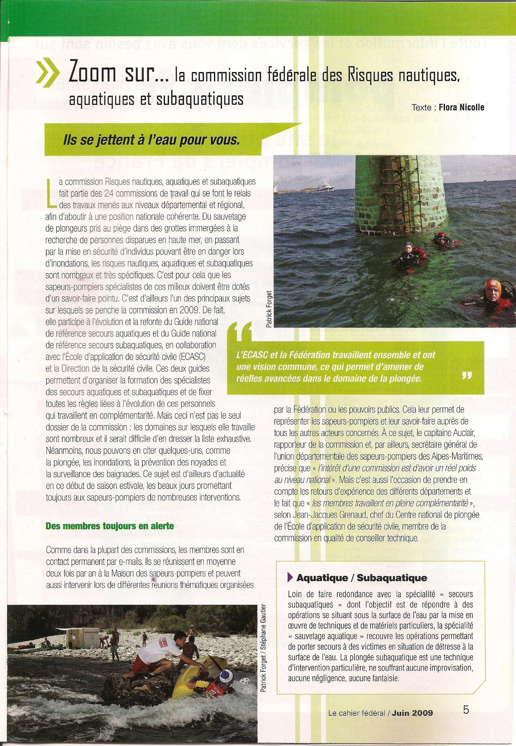 Article magazine Sapeurs-pompiers